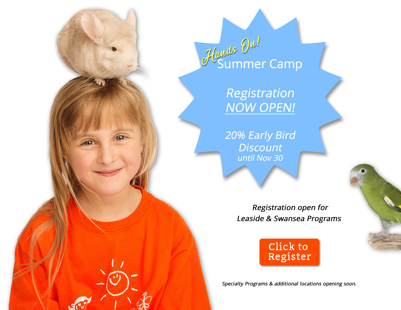 Summer Camp registration now open! Early bird 20% discount until Nov. 30.